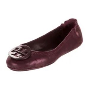 Tory Burch Logo Plum Shimmery Flats Size:9